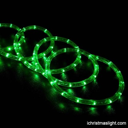 Holiday time decorative green LED rope lights