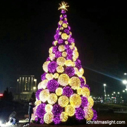 Purple and warm white big Christmas tree in China