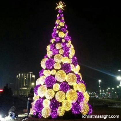 Purple and warm white big Christmas tree in China