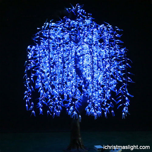 White Christmas Trees With Blue Lights