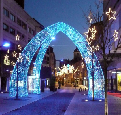Blue LED light arch for street decoration