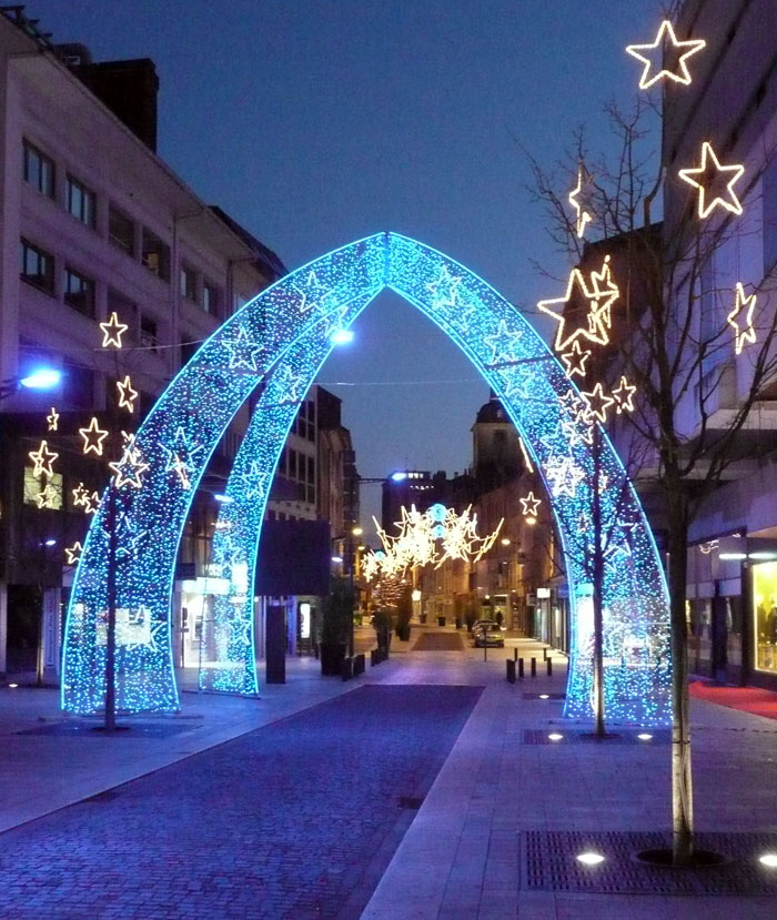Blue LED light arch for street decoration   iChristmasLight