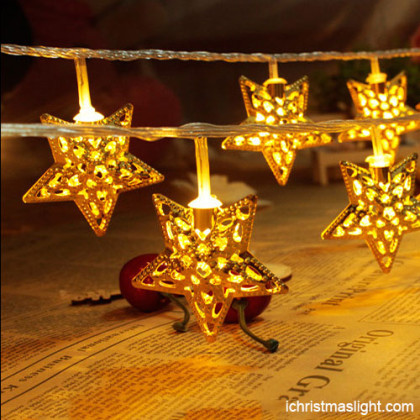 Indoor xmas lights with gold iron stars