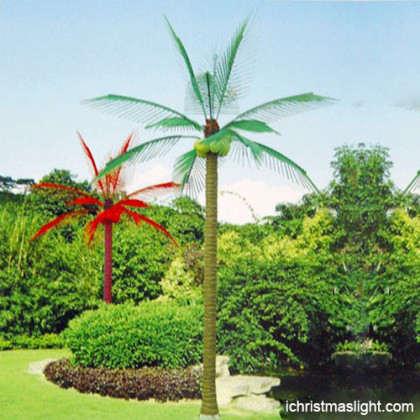 Christmas time lighted outdoor palm tree