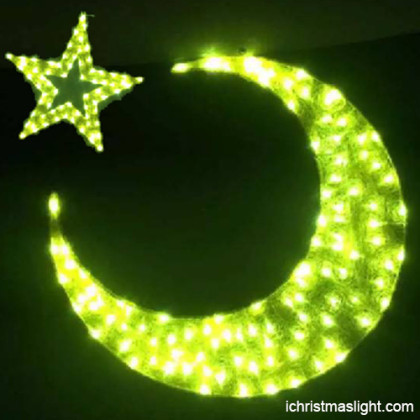 Acrylic moon and star gold LED eid lights