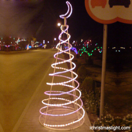 Ramadan lights spiral tree with crescent