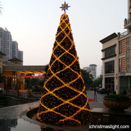 Themed christmas trees with gold led lights