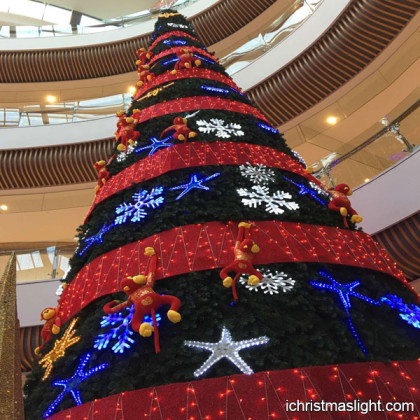 Big cool christmas trees with light ornaments