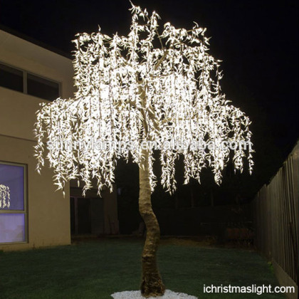 Artificial white LED light up willow trees