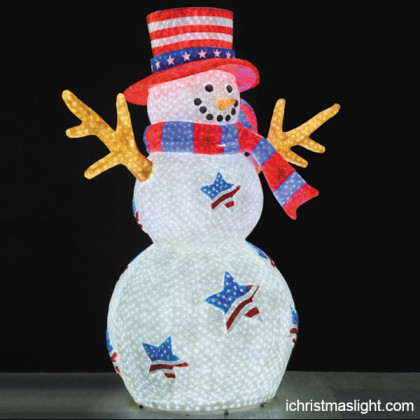 America themed outdoor lighted snowman