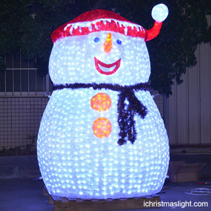 Lighted white outdoor snowman decorations