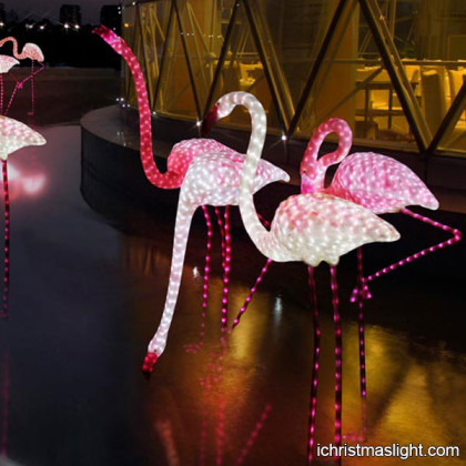 LED flamingo light sculpture for Christmas