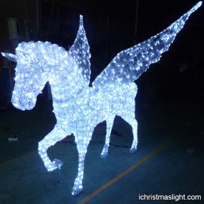 White LED lighted decorative flying horses