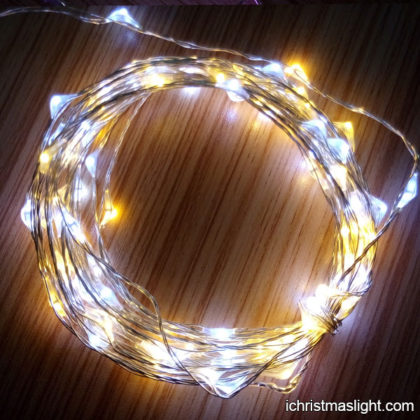 White and yellow LED copper wire string lights