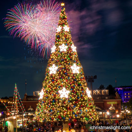 Decorated outdoor big fake christmas trees