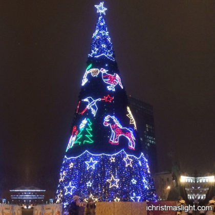 Lighted commercial display christmas tree