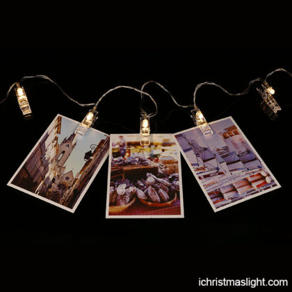 String lights for bedroom with photo clips