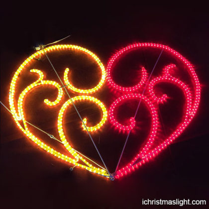 Rope motif light heart LED lights for decoration