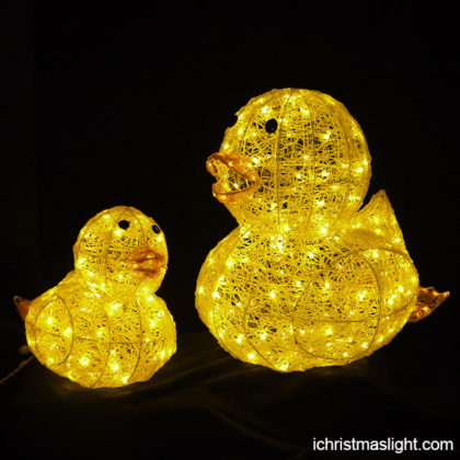 LED yellow duck decoration lights for garden