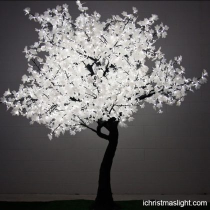 Event decorative lighted white maple trees