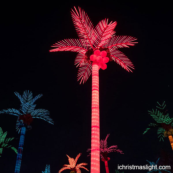 Christmas Lighted Palm Tree With Red Color